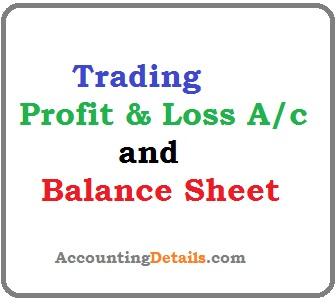 Trading profit and loss balance sheet example